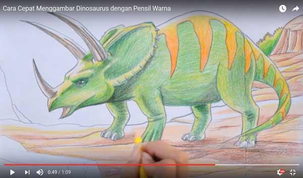 Cara cepat Menggambar dan Mewarnai Dinosaurus