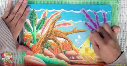 Tutorial Mewarnai Ikan dan Pemandangan di Akuarium dengan Krayon Oil Pastel