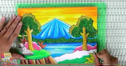 Tutorial Mewarnai Pemandangan Alam dengan Krayon (Oil-Pastel)-
