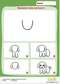 menggambar anjing u