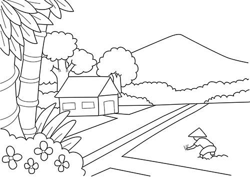 4 Langkah Menggambar Dan Mewarnai Pemandangan Alam Di Pedesaan