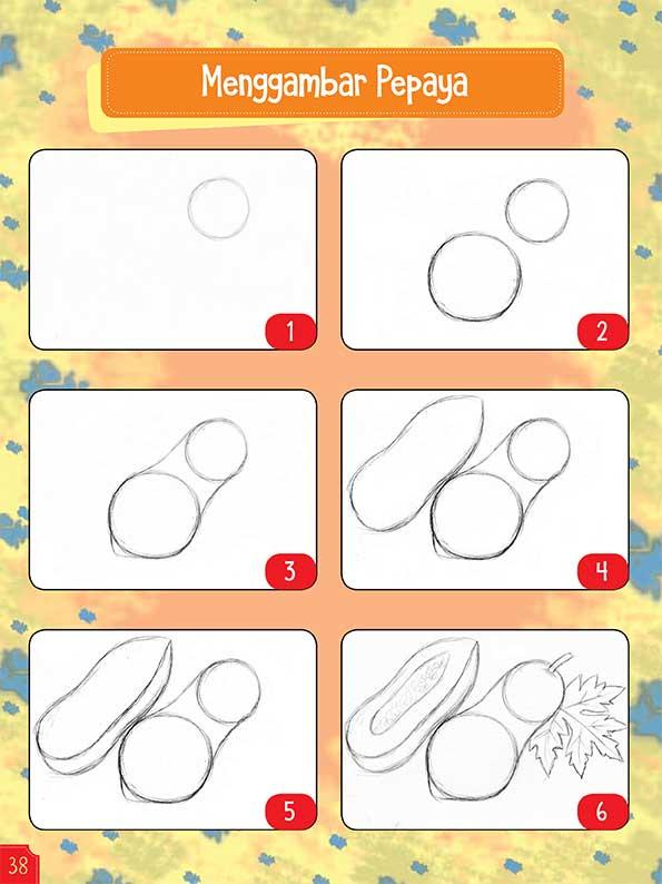 Langkah menggambar buah pepaya dengan Krayon