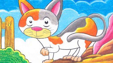 menggambar kucing dengan krayon