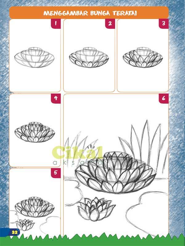 langkah menggambar bunga teratai