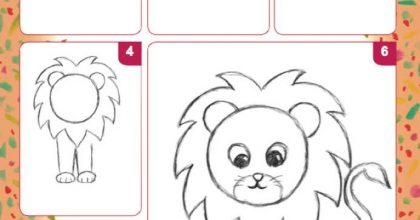 menggambar singa dengan lingkaran