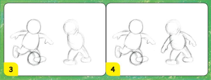 menggambar anak main bola
