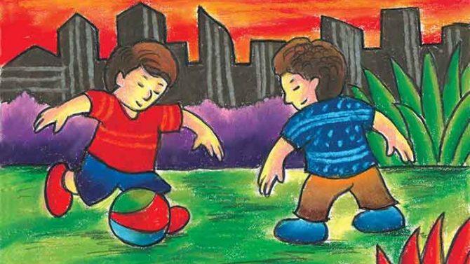 menggambar mewarnai main bola