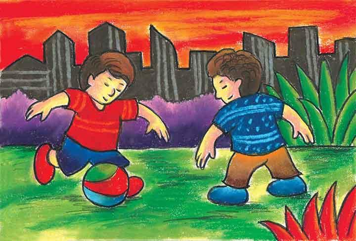 Langkah Mudah Menggambar Anak Anak Bermain Bola Dengan Oil Pastel Cikal Aksara